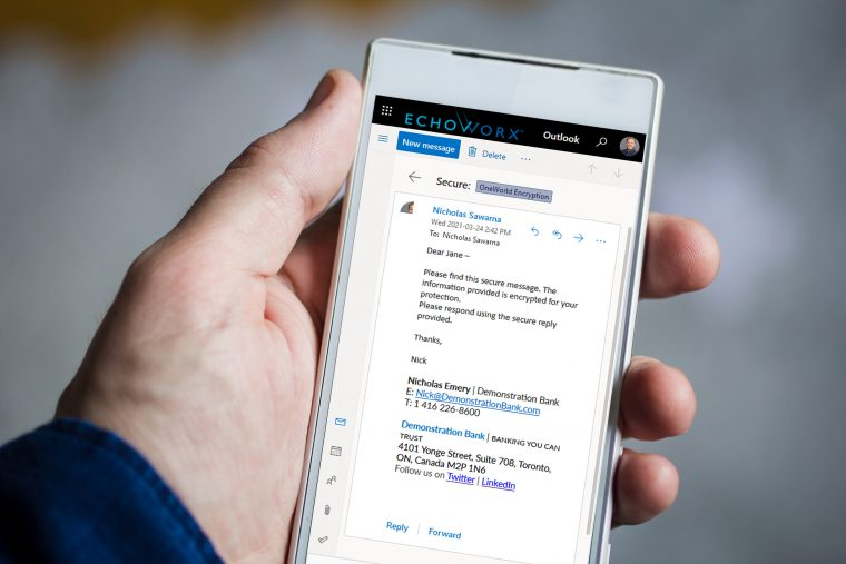 Man hand holding smartphone. The screen is displaying an Echoworx encrypted email in Outlook.