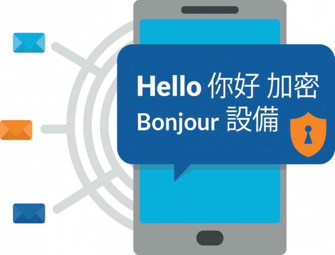 illustration of mobile phone with hello displayed on screen in multiple languages