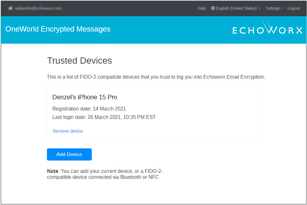 Echoworx trusted devices screen prompt