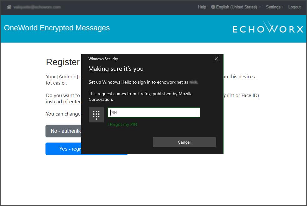 Echoworx register device screen prompt
