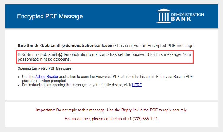 Echoworx Sender-set password notification email